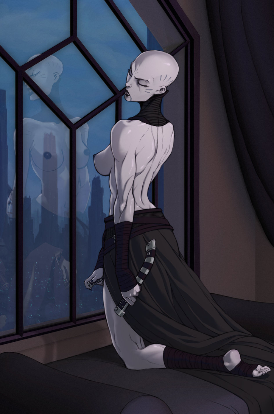 Asajj Ventress playing with her lightsabers (GSears) [Star Wars]   Softcore  Hentai XXX   Anime Hentai